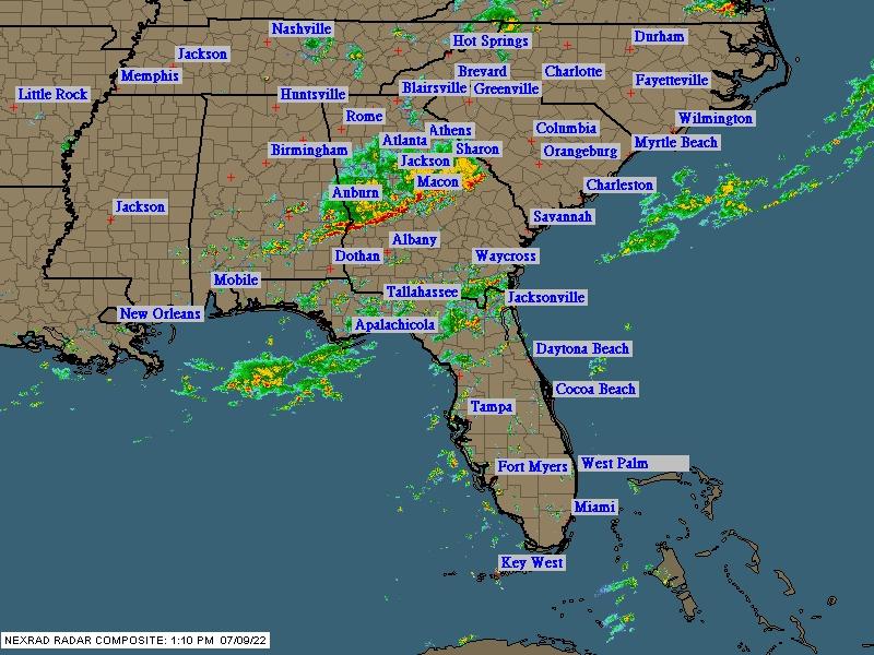 Conyers GA Regional Cloud Cover and NEXRAD Radar